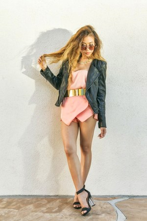 light orange skirt - black leather jacket - camel round sunglasses
