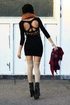 black Steve Madden boots - black skull cutout dress - tawny infinity H & M scarf