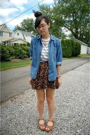 St Johns Bay top - American Apparel t-shirt - Charlotte Russe skirt