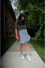 White-platform-union-bay-shoes-red-thrifted-bag-light-blue-skirt