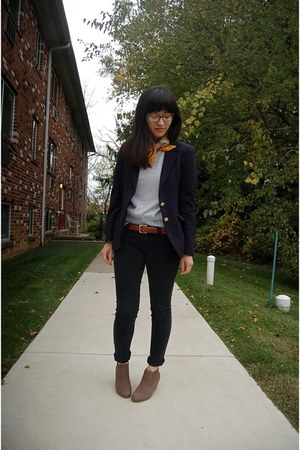 navy thrifted blazer - light brown New Direction boots