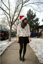 off white Marshalls sweater - forest green HUE tights - black TJ Maxx skirt