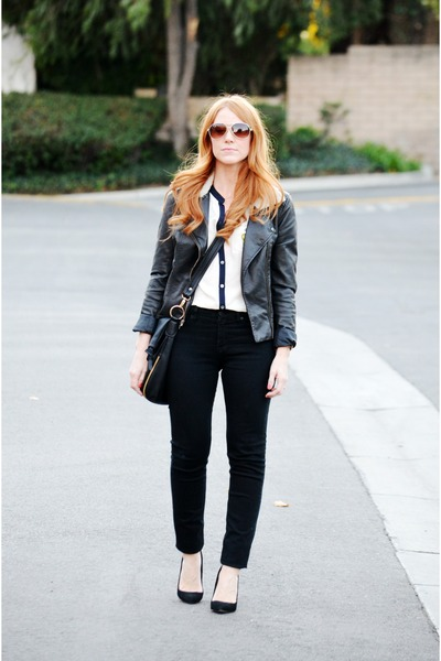 black BDG jeans - black leather jacket - black talamello Aldo bag