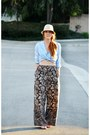 Beige-hat-pants-sky-blue-vintage-blouse