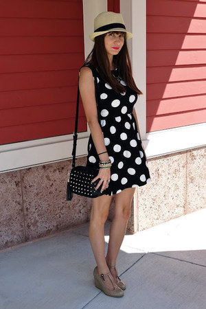 black polka dot dress Forever21 dress - black Forever21 hat