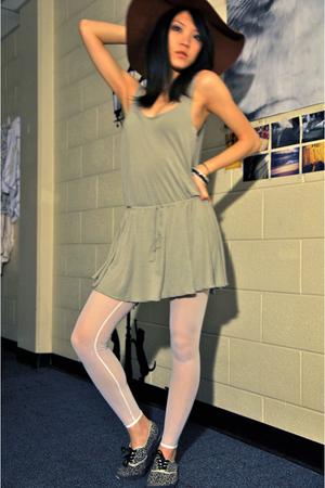 beige American Apparel dress - white American Apparel leggings - brown American