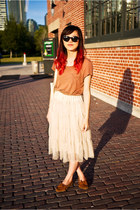 beige chiffon skirt - brown moccasins Minnetonka shoes - light brown H&M shirt
