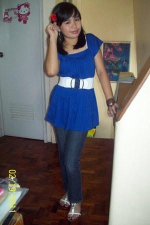 blue cotton top get laud blouse - denim la senza girl pants