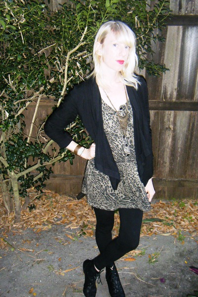 black pixie Aldo boots - Forever 21 dress - black Forever 21 jacket