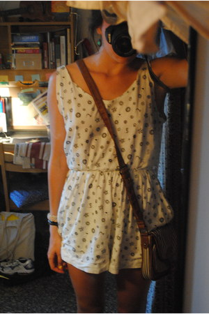 white thrifted romper - heather gray TOMS shoes - navy striped Target bag
