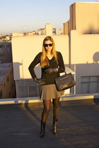 black Jimmy Choo boots - black Bottega Veneta purse - black Ray Ban sunglasses