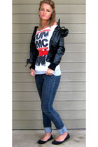 black Max Azria jacket - red Forever 21 belt - blue Forever 21 jeans - gray Char
