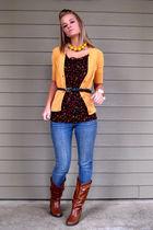 black floral print Forever 21 blouse - brown cowboy boots