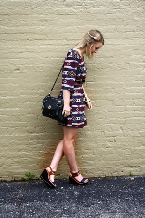 navy Ruche dress - black sparrow bag
