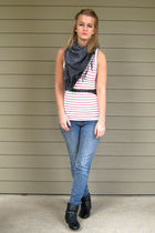 red Forever 21 top - gray from afghanistan scarf - black Forever 21 belt - black