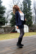 blue Forever 21 blazer - blue liz claiborne shorts - gray Target tights - black