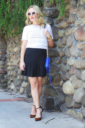 blue cross body Rebecca Minkoff bag - black ruffled thrifted vintage skirt