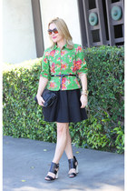 green floral print Kenzo jacket - black full skirt for elyse dress