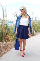 white camisole Zara top - navy denim Levis jacket - blue denim Topshop skirt