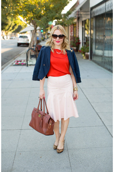 peach ruffle hem Anthropologie skirt - navy Marc by Marc Jacobs jacket