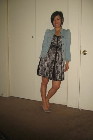 black kimchi and blue dress - blue H&M jacket - beige Bandolino shoes