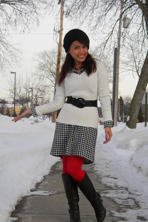 black as skirt Old Navy dress - white Target sweater - red Target tights