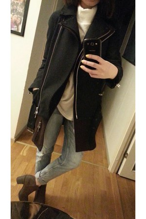 black coat - black coat - H&M shoes - GINA TRICOT jeans
