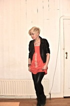 Topshop boots - Topshop dress - new look jacket - Topshop leggings