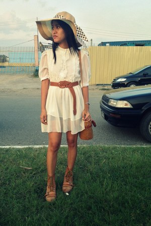 brown leather boots - ivory frilly sheer dress - eggshell floppy hat - brown bag