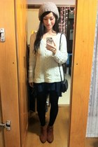 white Gap sweater - tawny H&M boots - navy H&M dress - heather gray Topshop hat
