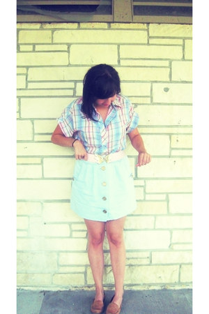 unknown blouse - Urban Outfitters skirt - crown vintage loafers - unknown belt