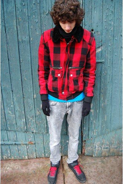 black Buff scarf - red H&M jacket - silver H&M jeans - black fila shoes - blue B