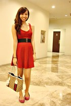 light brown Gucci bag - hot pink tory burch shoes - ruby red Forever 21 dress