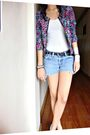 Pink-cotton-on-jacket-blue-american-eagle-shorts-white-marks-and-spencer-top