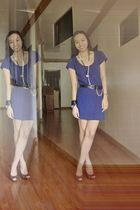 blue Mango dress - black Glitterati belt - brown Steve Madden shoes