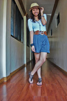 white Rue 21 top - gray Forever 21 shorts - brown Paprika shoes