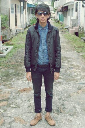 no brand sunglasses - Zara sweater - Topman shirt - giordano pants - Clarks shoe