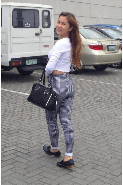 Topshop crop top - Topshop high waisted leggings - Ivanka Trump bag