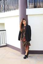 HK Vintage Foral long dress - Zara black blazer