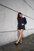 black Zara shorts - navy school blouse - black Marks&Spencer heels