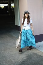 light blue Asos Floral skirt - dark brown Forever 21 hat