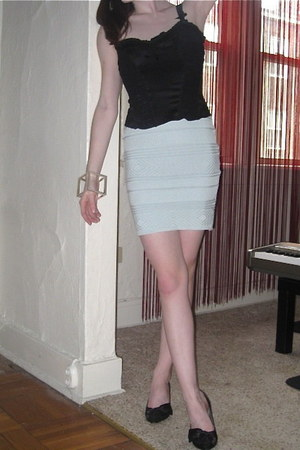 black Bebe top - light blue American Apparel skirt - black Nina New York heels -