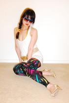 vintage sunglasses - vintage belt - Gloria Vanderbilt shoes - Helmut Lang top -