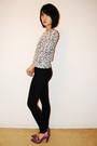 White-forever-21-cardigan-black-blank-denim-jeans-purple-aldo-shoes