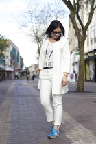 Zara coat - adidas sneakers - Zara t-shirt - Zara pants