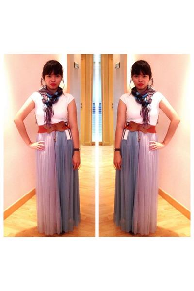 light purple Target scarf - silver Forever 21 dress - beige Forever 21 blouse