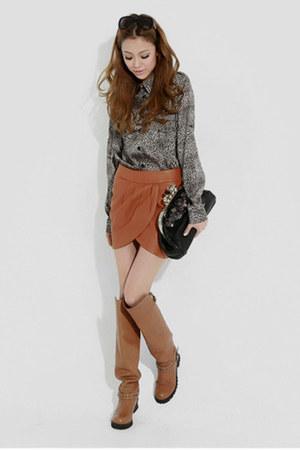 gray no brand blouse - hm skirt