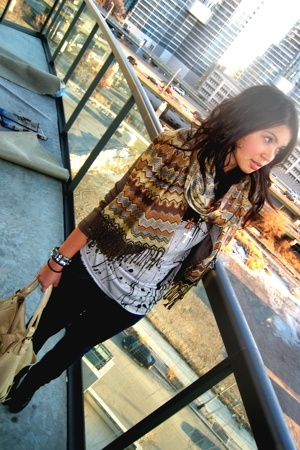 ML scarf - Forever21 top - Forever21 blazer - Urban Outfittersrban Outfittersrba