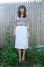 White-salvation-army-skirt-purple-monks-vintage-sweater-beige-value-village-