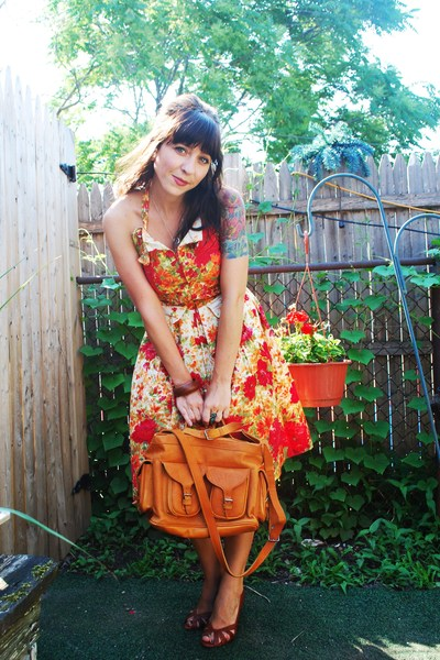 brown winners shoes - red printed vintage dress - brown thrifted purse